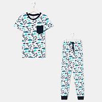 Пижама для мальчика, цвет белый/голубой, рост 128-134 см