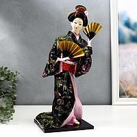 Кукла коллекционная 'Гейша в черно-золотом кимоно с веерами'