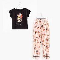Костюм женский (футболка, брюки) цвет чёрный, размер 42
