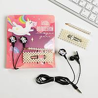 Наушники вакуумные и заколки для волос на открытке 'Будь волшебной', 11 х 20,8 см