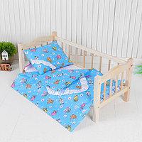 Постельное бельё для кукол 'Зверята с ромашками на голубом', простынь, одеяло, подушка