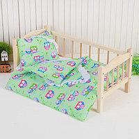 Постельное бельё для кукол 'Совята на зелёном', простынь, одеяло, подушка