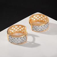 Серьги-кольца 'Одиссея' геометрия, d1,5, цвет бело-серебряный в розовом золоте