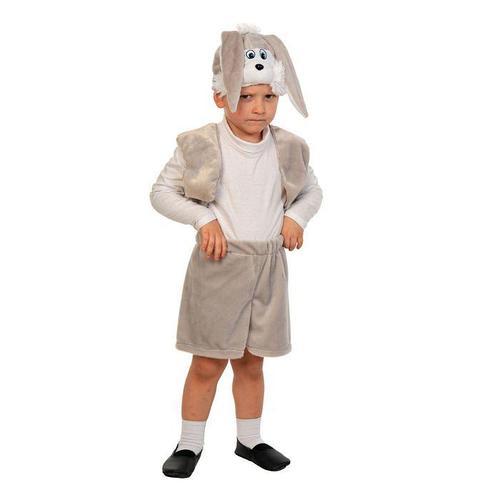 Карнавальный костюм 'Зайчик серый', плюш-лайт, жилет, шорты с хвостиком, маска, рост 92-116 см