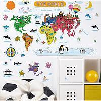 Наклейка пластик интерьерная цветная 'Карта мира с животными' 30х90 см набор 2 листа
