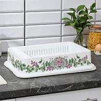 Сушилка для посуды IDEA 'Деко. Каменная роза', 40x26x9 см, цвет белый