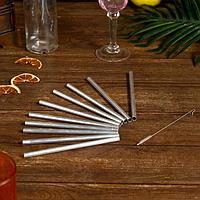 Трубочки для коктейля 10 шт 16х8х0,5 см алюминий