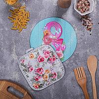 Многофункциональная кухонная доска + прихватка'С Праздником!', 20 см