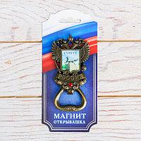 Магнит-открывашка в форме герба 'Сургут. Чёрный лис', под латунь
