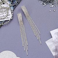 Серьги висячие со стразами 'Голливуд' прямоугольник, длинные нити, цвет белый в серебре