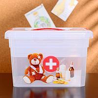 Контейнер-органайзер с крышкой 'Аптечка', 5 л, 25x20x16 см, лоток органайзер S, цвет прозрачный