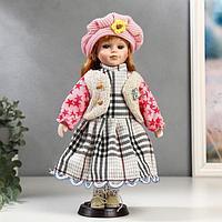 Кукла коллекционная керамика 'Рыжая в бежевой жилетке и розовом берете' 30 см