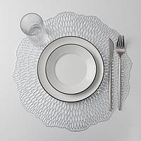 Набор салфеток кухонных Доляна 'Мэри', 38x38 см, 4 шт, цвет серебро