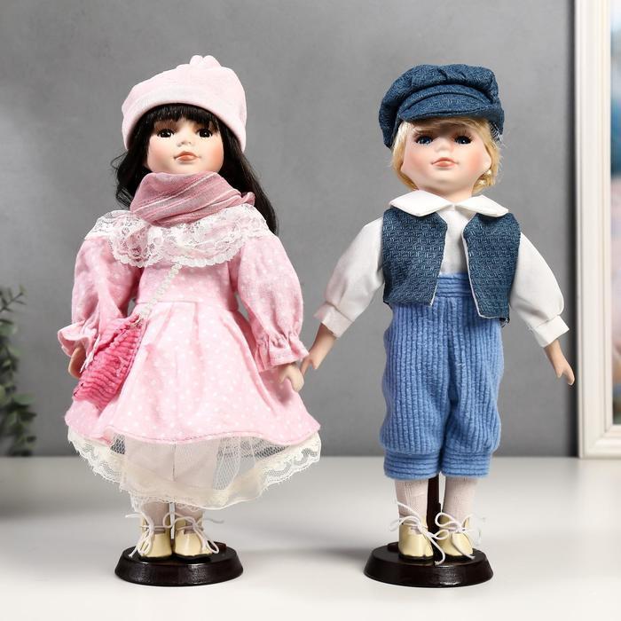 Кукла коллекционная парочка набор 2 шт 'Полина и Кирилл в розовых нарядах' 30 см - фото 1