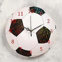 Часы настенные 'Футбольный мяч', d- 23.5. плавный ход, стрелки и циферблат микс