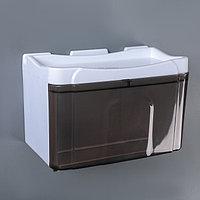 Диспенсер бумажных полотенец в листах и рулонах, 22x13x14 см, пластик, цвет бело-коричневый