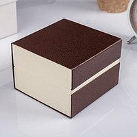 Шкатулка картон, бархат под часы 1 отделение 'Рябь' кофейная 7,5х10,5х10,5 см