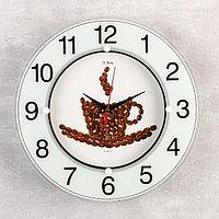 Часы стеклянные 'Чашка из кофейных зерен', цифры на кольце, 32х32 см микс