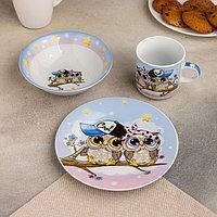 Набор детской посуды Доляна 'Совы тинейджеры', 3 предмета кружка 230 мл, миска 400 мл, тарелка 18 см