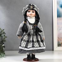 Кукла коллекционная керамика 'Брюнетка с косами, в светло-сером наряде в клетку' 30 см