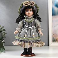 Кукла коллекционная керамика 'Брюнетка с кудрями в серо-синем наряде' 30 см