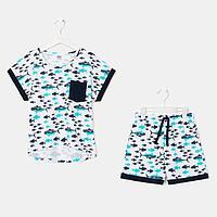 Пижама для девочки, цвет белый/синий, рост 128-134 см