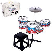 Барабанная установка 'Рок', 5 барабанов, тарелка, палочки, стульчик