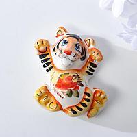 Магнит Тигр 'Боб', 8 см, гжель, цвет