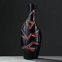 Ваза напольная 'Аманда', чёрная, керамика, 53.5 см