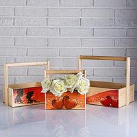 Набор кашпо деревянных подарочных Капоне 'Любовь на двоих', 3 в 1, ручка