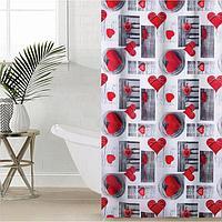 Штора для ванной комнаты Доляна 'Сердца', 180x180 см, полиэстер