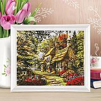 Роспись по холсту 'Прелестный дом' по номерам с красками по 3 мл+ кисти+крепеж, 30x40 см