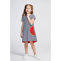 Платье для девочки, цвет синий/красный, рост 128 см