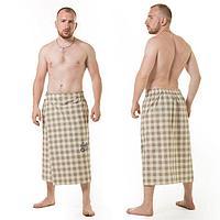 Килт(юбка) муж. вышивка, артКЛ-12В клетка серая, 75х145, полулён, Хл50, лён50, 160 г/м
