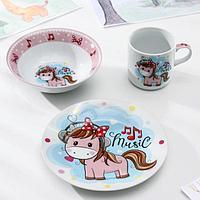 Набор детской посуды Доляна 'Маленькая лошадка', 3 предмета кружка 230 мл, миска 400 мл, тарелка 18 см