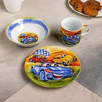 Набор детской посуды Доляна 'Гонки', 3 предмета кружка 230 мл, миска 400 мл, тарелка 18 см