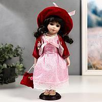 Кукла коллекционная керамика 'Таисия в розовом платье и красном кардигане' 30 см