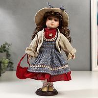 Кукла коллекционная керамика 'Кристина в синем платье и бежевой курточке' 30 см