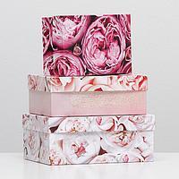 Набор коробок 3 в 1 'Букет пионов', 23 х 16 х 9,5 - 19 х 12 х 6,5 см