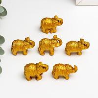Нэцке полистоун 'Золотые слоны' набор 6 шт 3х3,5х1,7 см
