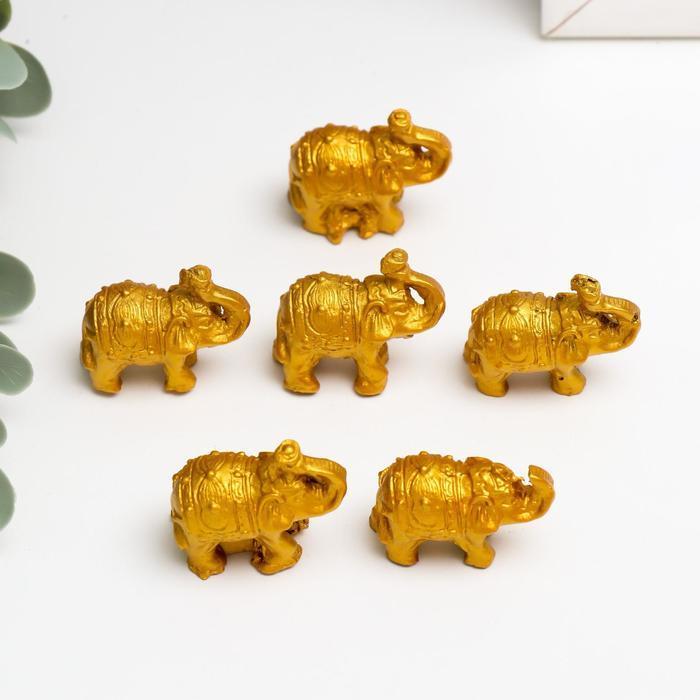 Нэцке полистоун 'Золотые слоны' набор 6 шт 3х3,5х1,7 см - фото 1