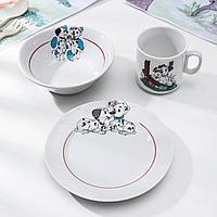 Набор посуды 'Идиллия. Далматинцы', 3 предмета кружка 200 мл, салатник 360 мл, тарелка мелкая, d17 см, цвет