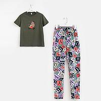 Пижама женская, цвет хаки, размер 46