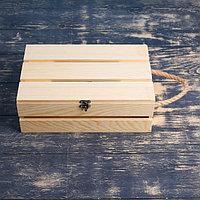 Подарочный ящик 30x20x10 см деревянный с откидной крышкой, с замком, ручка Дарим Красиво