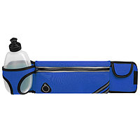 Сумка спортивная на пояс 45х9 см с бутылкой 15х8х3 см, 2 кармана, цвет синий