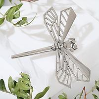 Брошь 'Стрекоза' геометрия, цвет серебро