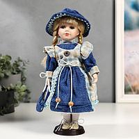 Кукла коллекционная керамика 'Алиса в джинсовом платье с клетчатой накидкой' 30 см