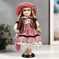 Кукла коллекционная керамика 'Алёна в розовом платье и бордовом джемпере' 30 см