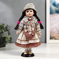 Кукла коллекционная керамика 'Василиса в белом платье с деталями в клетку' 30 см