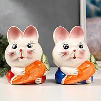 Копилка керамика 'Зайчик с морковкой' МИКС 16,5х12,5х10 см